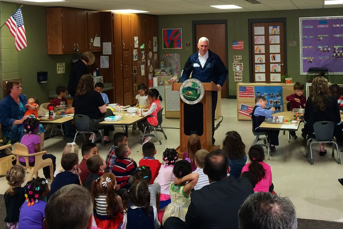 Gov. Mike Pence announces nearly 600 new seats for the state's On My Way PreK pilot.