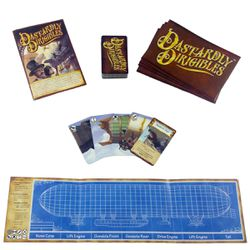 At look at the components that come in the game Dastardly Dirigibles.