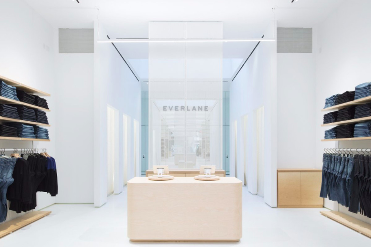 A photo inside Everlane's clothing store in New York City