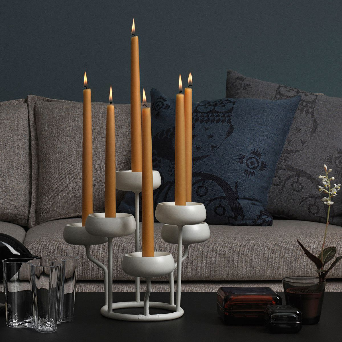 Iittala hygge candleholder with six lighted candles