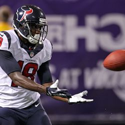 Aug 9, 2013; Minneapolis, MN, USA; Houston Texans wide receiver Lestar Jean (18) catches a touchdown pass during the fourth quarter against the Minnesota Vikings at the Metrodome.