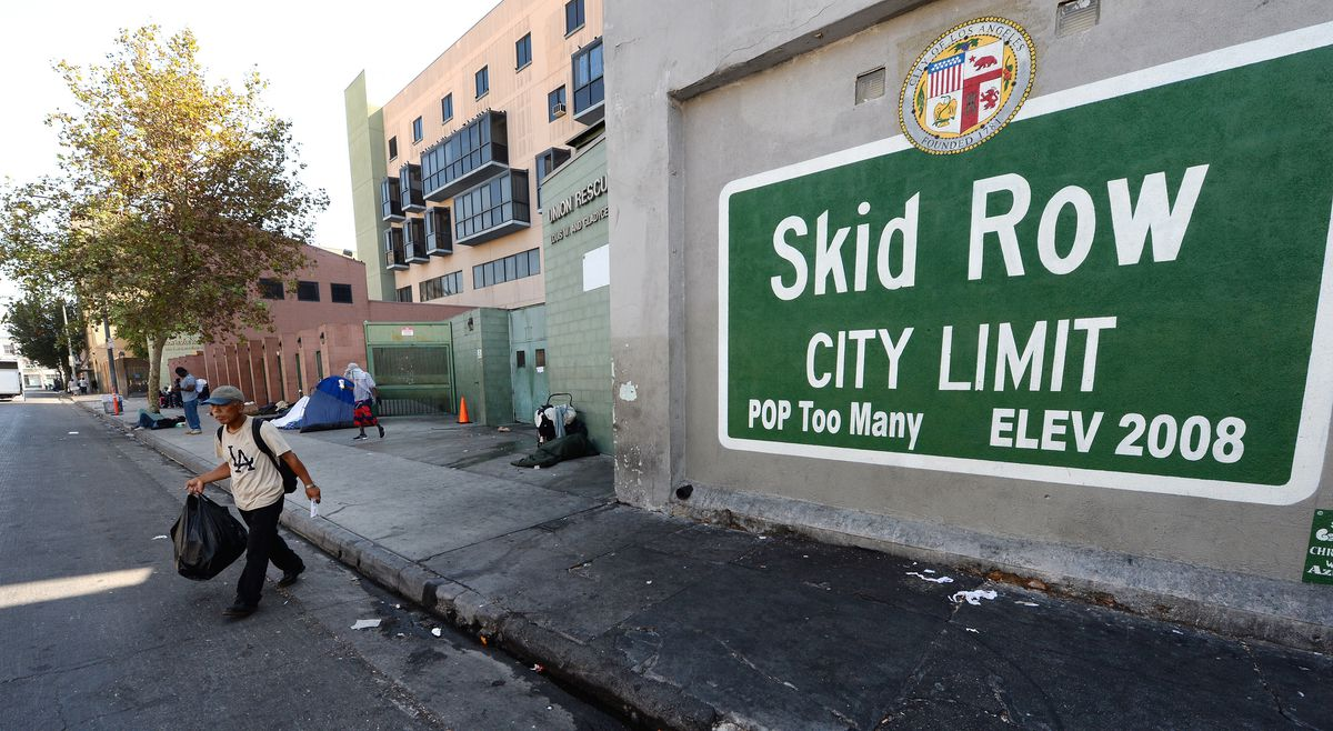 Skid Row is known as the center of homelessness in Los Angeles.