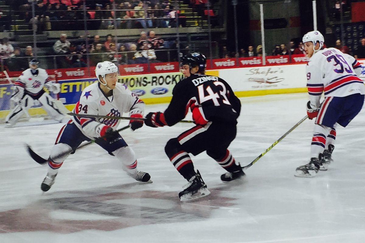 Ryan Dzingel in action as Binghamton loses 2-1 to Rochester