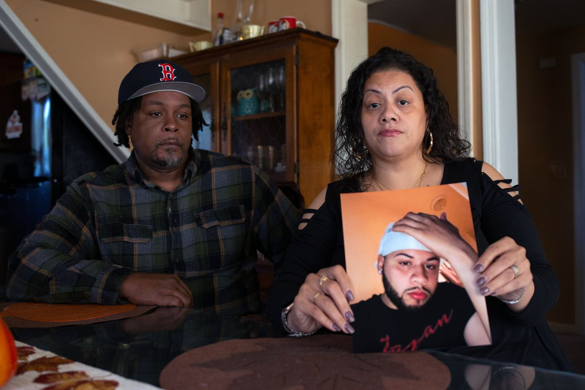 Chaz and Tamara Carter said they hoped the death of their son, Brandon Rodriguez, would shine a light on inhumane conditions at Rikers Island, Sept. 26, 2021.