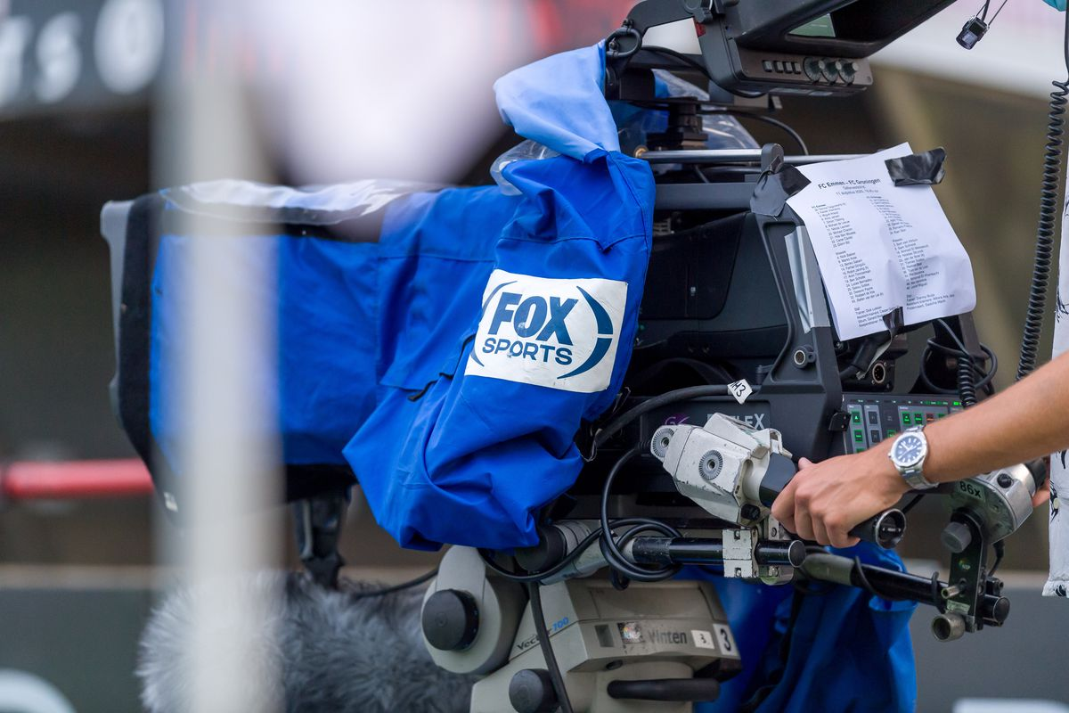 The Logo of Fox Sports is seen on a television camera during a Preseason Friendly match between FC Emmen and FC Groningen in the De Oude Meerdijk stadium on August 11, 2020 in Emmen, Netherlands.