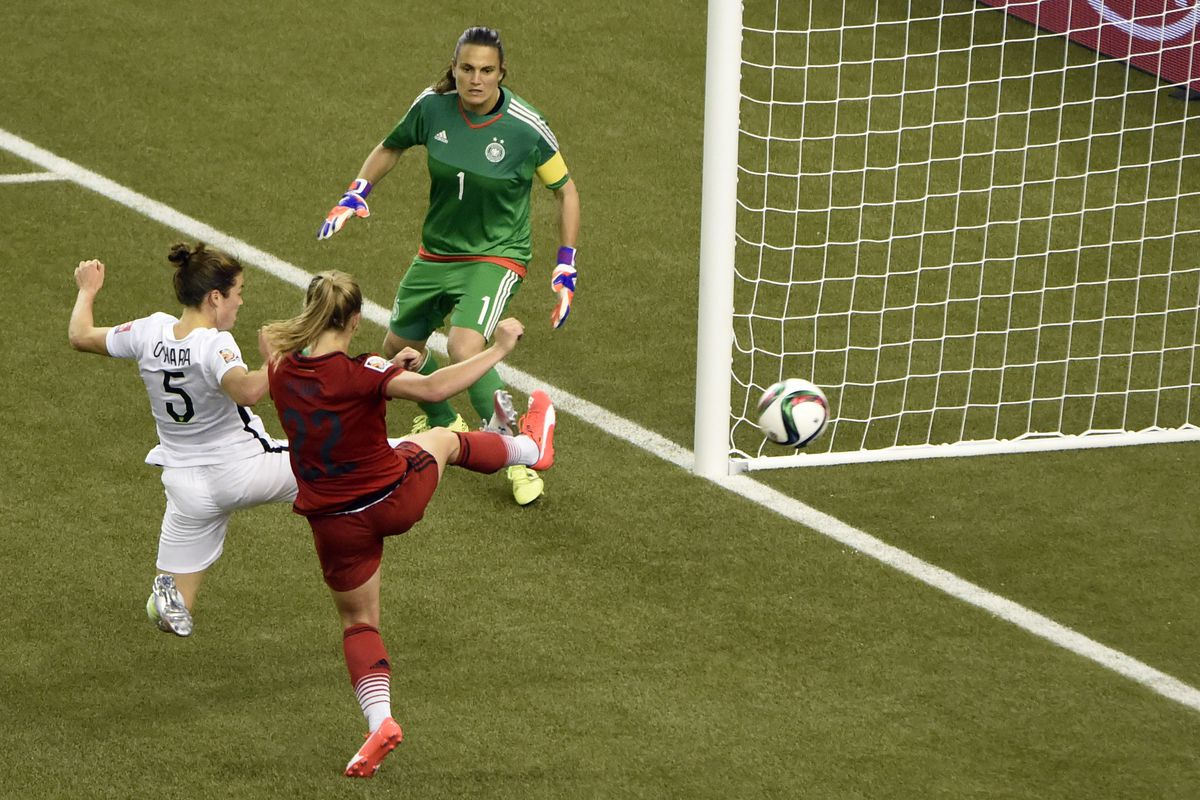 Kelley O'Hara catches Nadine Angerer out of position to put the United States up 2-0