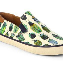 "<b>Tory Burch</b> Miles Bug-Print Canvas Laceless Sneakers, <a href=""http://www.saksfifthavenue.com/main/ProductDetail.jsp?FOLDER%3C%3Efolder_id=2534374306561744&PRODUCT%3C%3Eprd_id=845524446611777&R=887712247073&P_name=Tory+Burch&N=306561744&bmUID=k1LgZz"