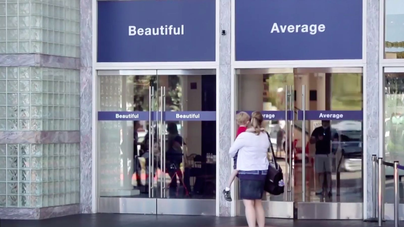 Dove Forces Women To Walk Through Doors Labeled Beautiful or Average in New Ad