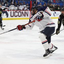 The Army Black Knights take on the UConn Huskies in a men's college hockey game at the XL Center in Hartford, CT on October 11, 2019.