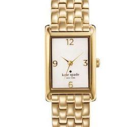 "Cooper Bracelet in gold, <a href=""http://www.katespade.com/cooper-bracelet/1YRU0036,default,pd.html?dwvar_1YRU0036_color=711&start=38&cgid=watches"">$225</a>."