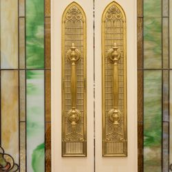 Art glass windows and hardware have been customized for the Provo City Center Temple.