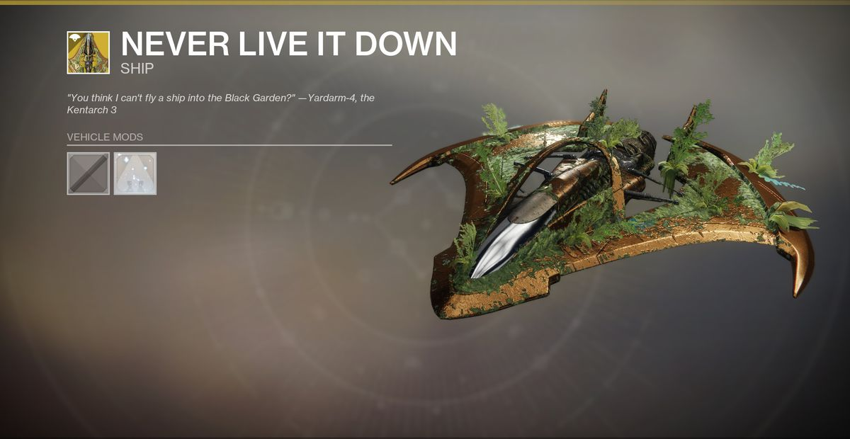 An Exotic ship in Destiny 2 Shadowkeep. It's gold with green foliage on top