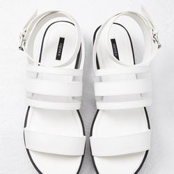 """Mesh-Paneled Faux Leather Sandals, <a href=""""http://www.forever21.com/Product/Product.aspx?BR=f21&Category=shoes&ProductID=2000094837&VariantID="""">$24.90</a>"""