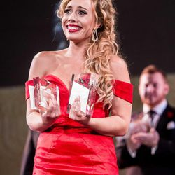 Marina Costa-Jackson holds her awards after winning first and second place at Placido Domingo's Operalia 2016.