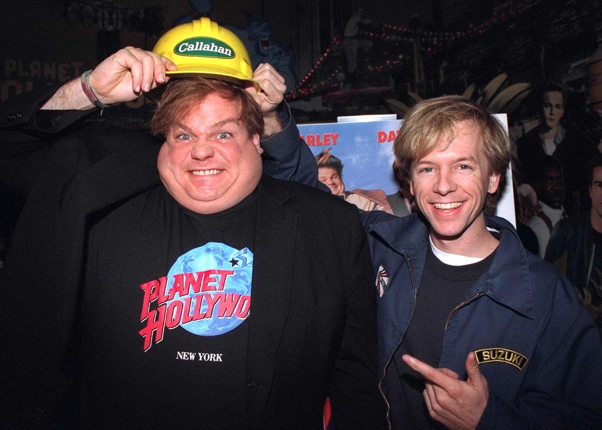 "Chris Farley (l.) and David Spade promoting their movie ""Tom"