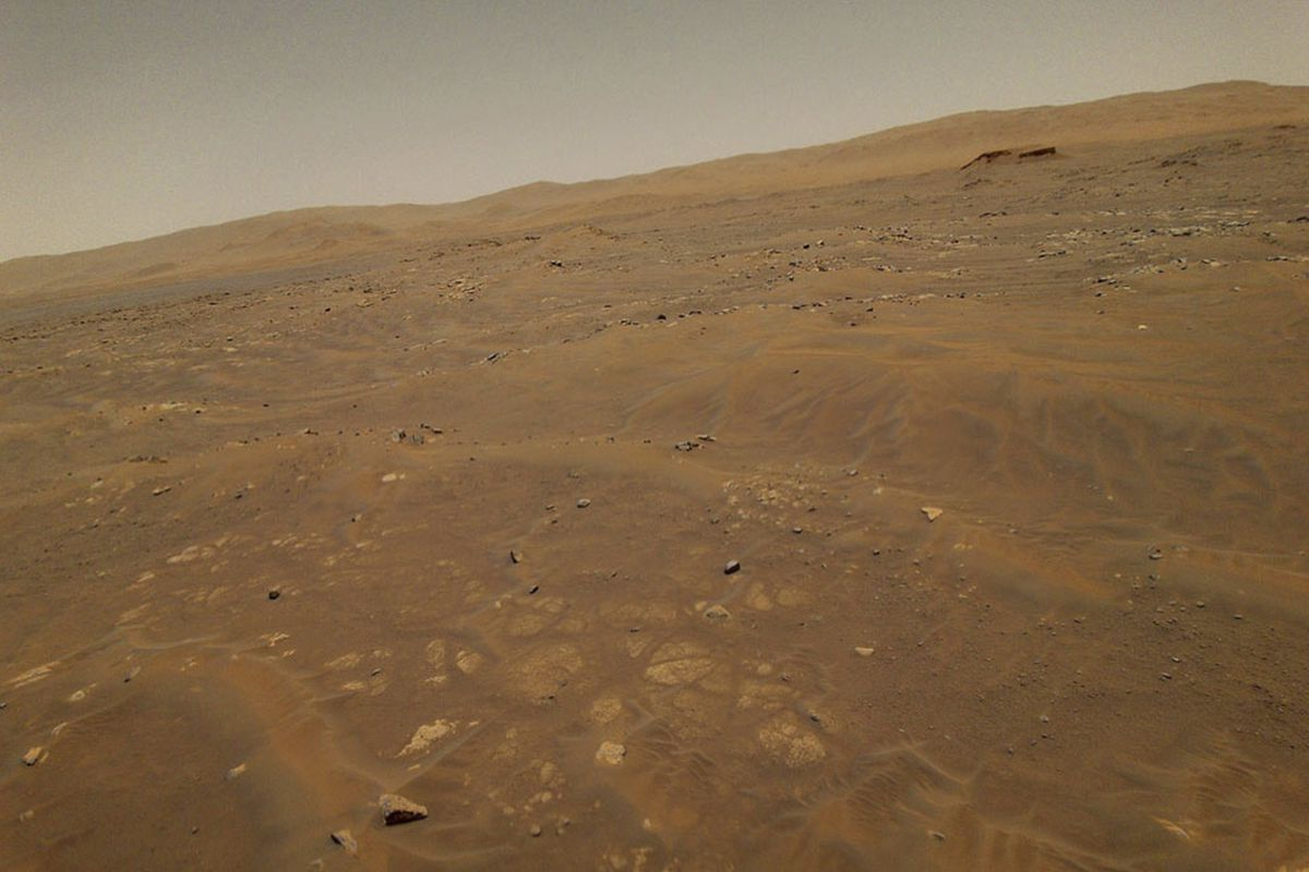 The surface of Mars from a height of 33 feet, captured by the Ingenuity Mars helicopter.