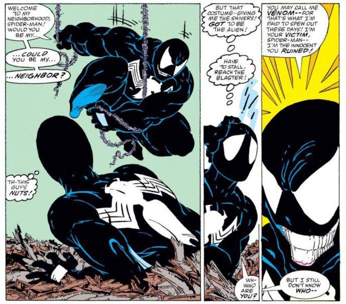 Venom attaching to Spider-Man in 'The Amazing Spider-Man' No. 300
