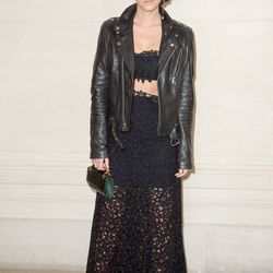 Emma sat front row at the Valentino haute couture fall 2014 show at Paris Fashion Week while wearing a black bandeau and see-through lace skirt.