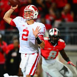 Joel Stave attempts a throw down field.