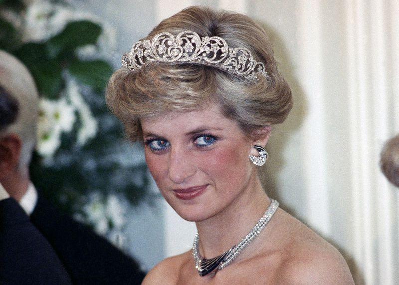 In this Monday, Nov. 2, 1987 file photo, Britain's Diana, the Princess of Wales, is pictured during an evening reception given by the West German President Richard von Weizsacker in honour of the British Royal guests in the Godesberg Redoute in Bonn, Germany.