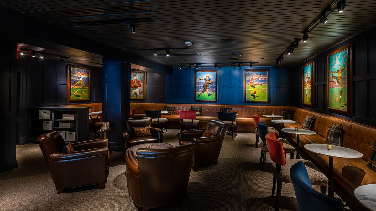 Velvet seating adds a soft touch to art of football stars at Fitzgerald's