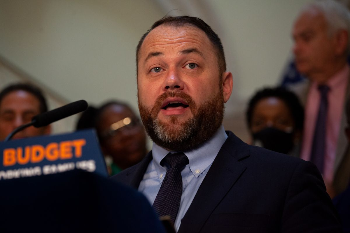 Council Speaker Corey Johnson speaks at City Hall about a budget deal reached with Mayor Bill de Blasio, June 30, 2021.