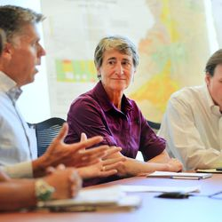 Interior Secretary Sally Jewell attends a meeting of San Juan County commissioners and other officials in Monticello as she visits Canyon Country in Southern Utah on Thursday, July 14, 2016. During her trip to the region, she said she was shocked by the lack of protection for Native American cultural sites. Today, President Barack Obama declared the Bears Ears National Monument in southeast Utah.