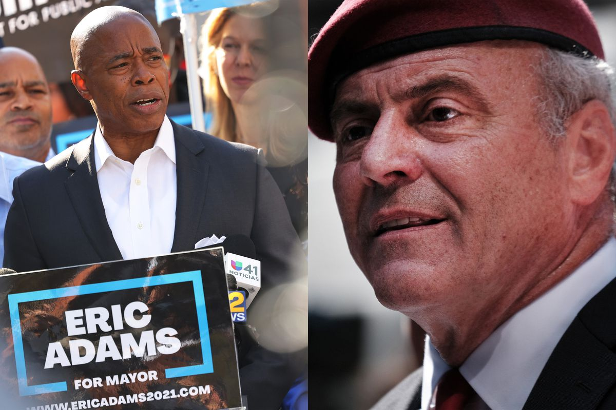 """(Left) Eric Adams speaks during a rally, at a podium that reads """"Eric Adams For Mayor"""". He is surrounded by supporters. (Right) Curtis Sliwa talks to supporters and media in Times Square, wearing his signature red beret."""