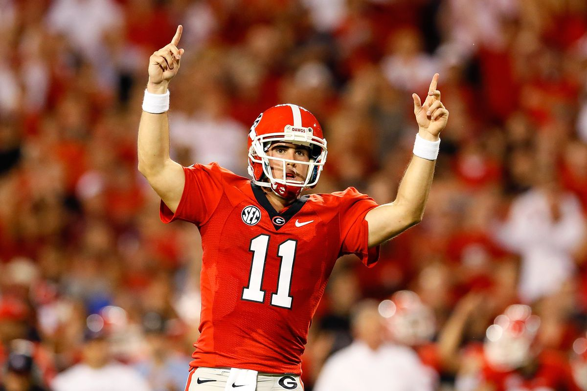 ATHENS, GA - SEPTEMBER 15:  Aaron Murray #11 of the Georgia Bulldogs reacts after a touchdown against the Florida Atlantic Owls at Sanford Stadium on September 15, 2012 in Athens, Georgia.  (Photo by Kevin C. Cox/Getty Images)