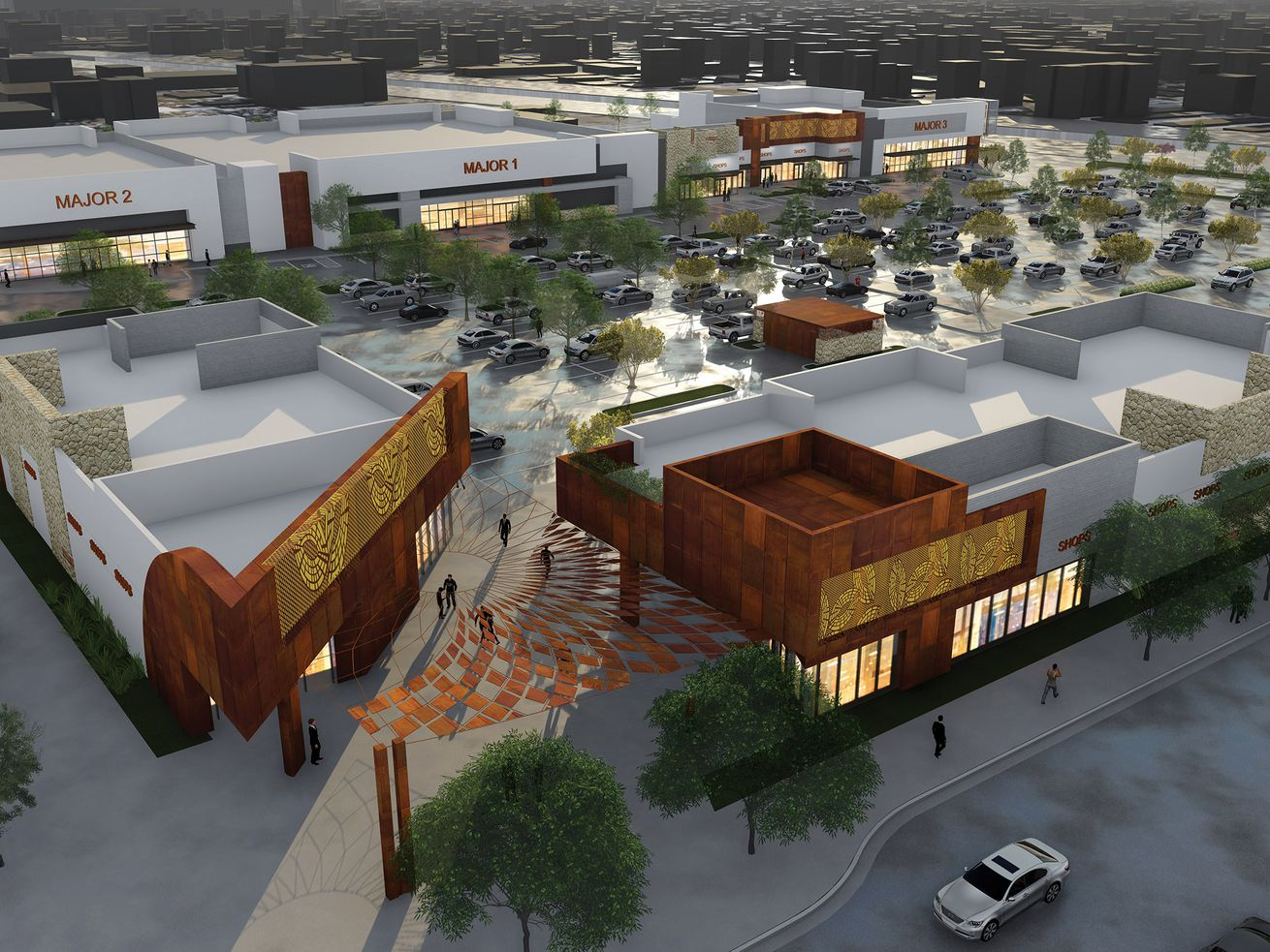 Jordan Downs Plaza will feature storefronts encircling a central parking lot.