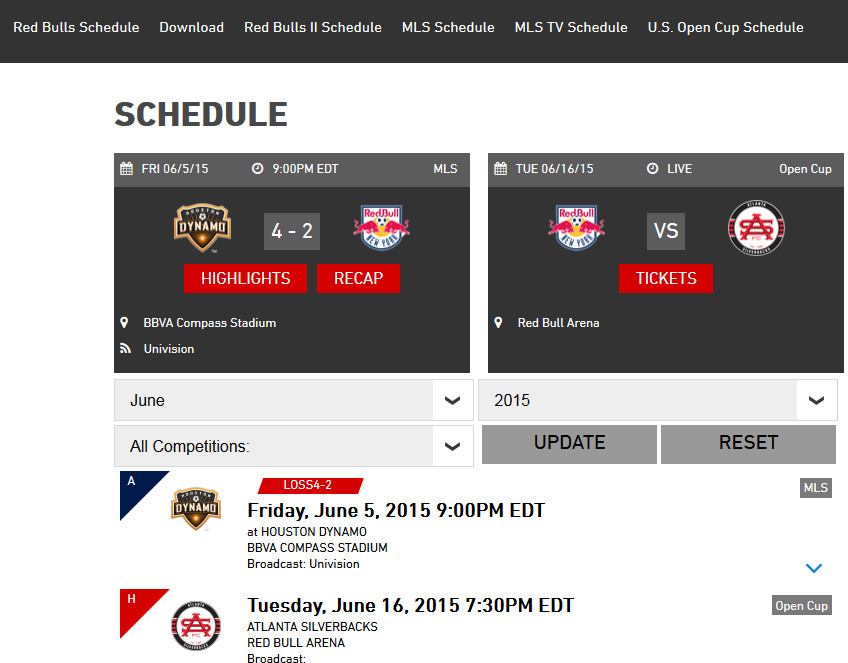 RBNY Schedule Page