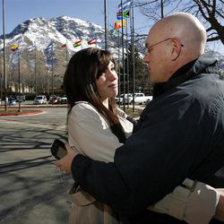 Sister Chelsea Buma hugs her father Bob Buma and says goodbye as she arrives at the Provo Missionary Training Center of The Church of Jesus Christ of Latter-day Saints in Provo, Utah, Wednesday, Feb. 2, 2011.
