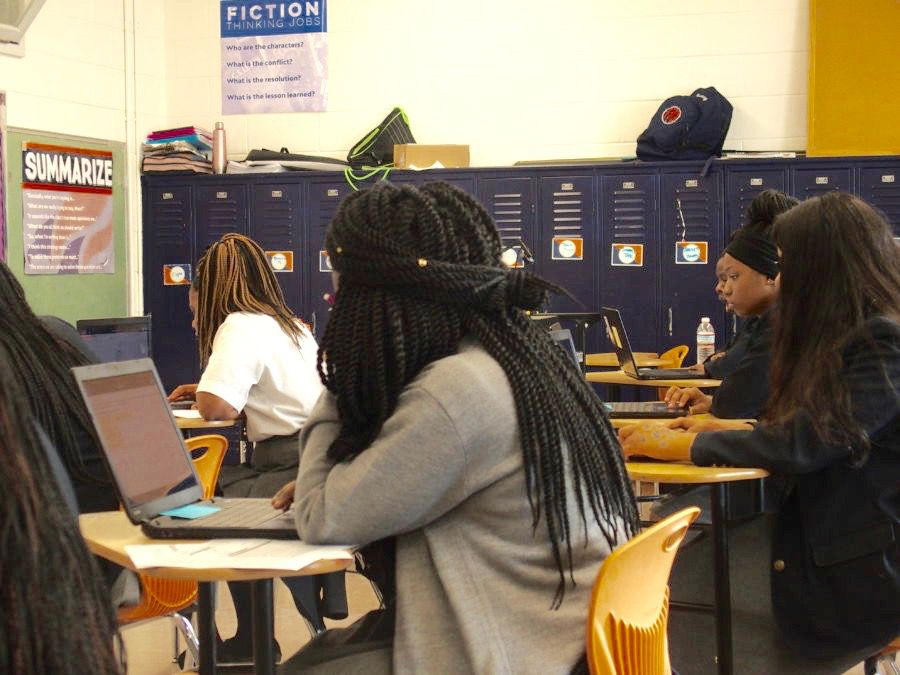 Students at Freedom Preparatory Academy's high school in Memphis prepare to take their TNReady geometry test online last spring.