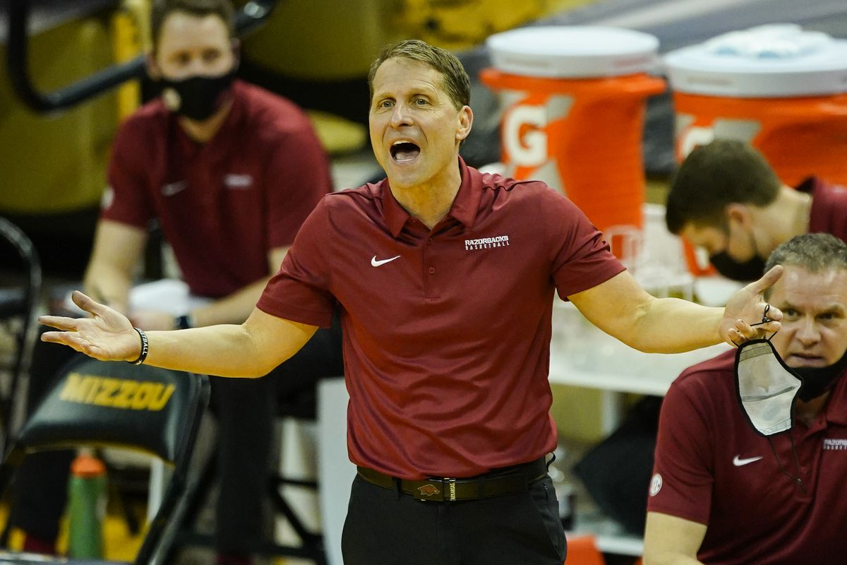 Arkansas Razorbacks head coach Eric Musselman reacts to a call during the second half against the Missouri Tigers at Mizzou Arena.