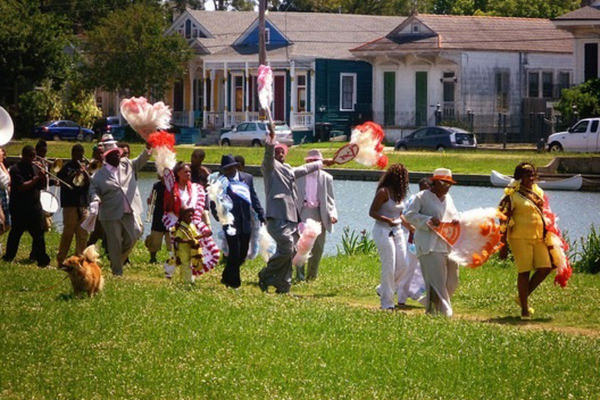 A second-line parade on the Bayou St John, Spring 2011