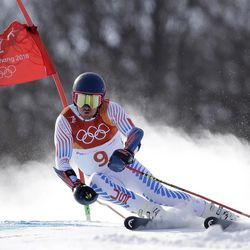 United States' Ted Ligety competes during the first run of the men's giant slalom at the 2018 Winter Olympics in Pyeongchang, South Korea, Sunday, Feb. 18, 2018.