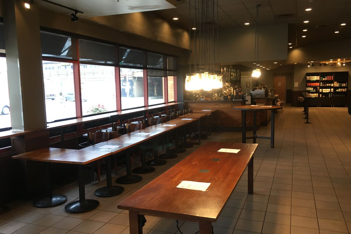 A nearly-vacant Starbucks in River Forest, with tables and chairs off-limits.