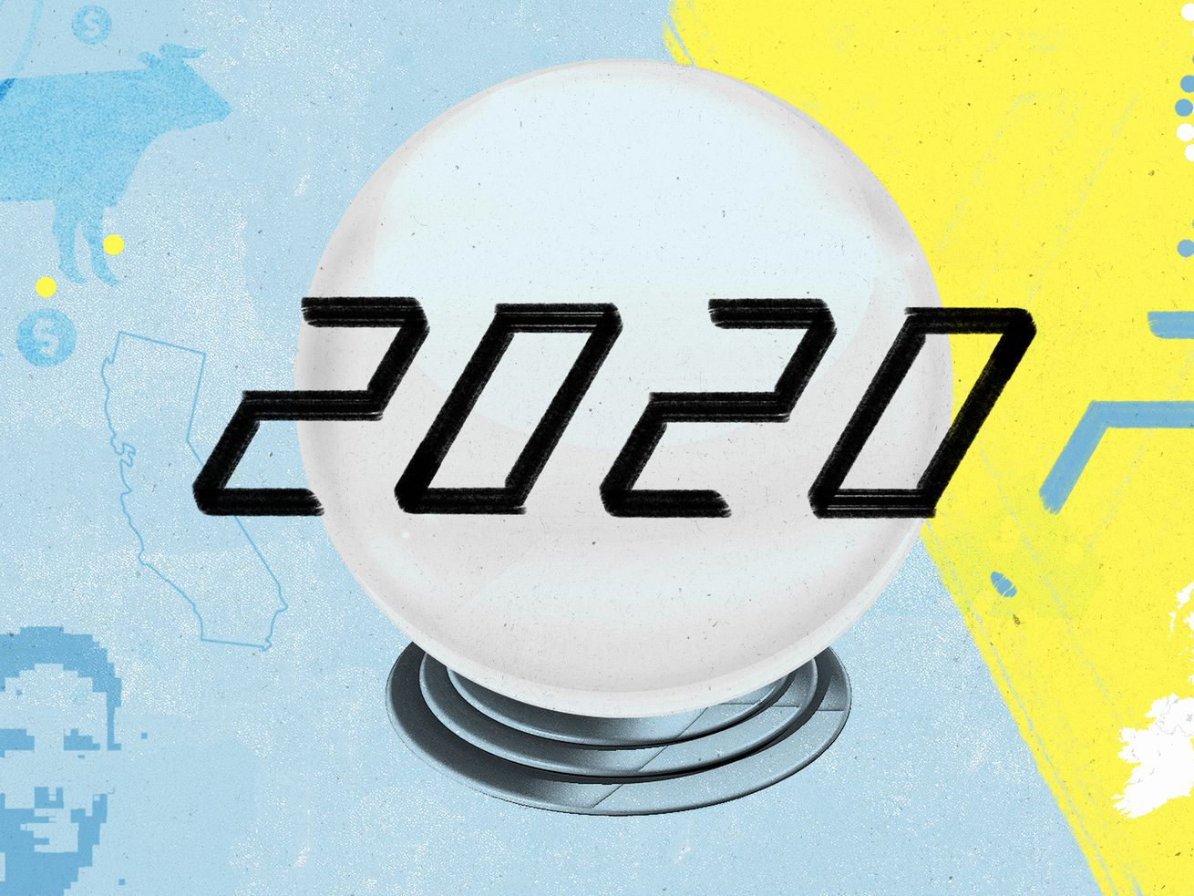 "An illustration showing ""2020,"" with a lightbulb and a question mark."