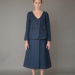 Belle denim jacket, $650; Jane skirt, $575