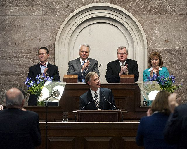 With state legislative leaders as the backdrop, Haslam talks about his vision for education in Tennessee.