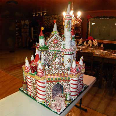 Edible gingerbread castle.