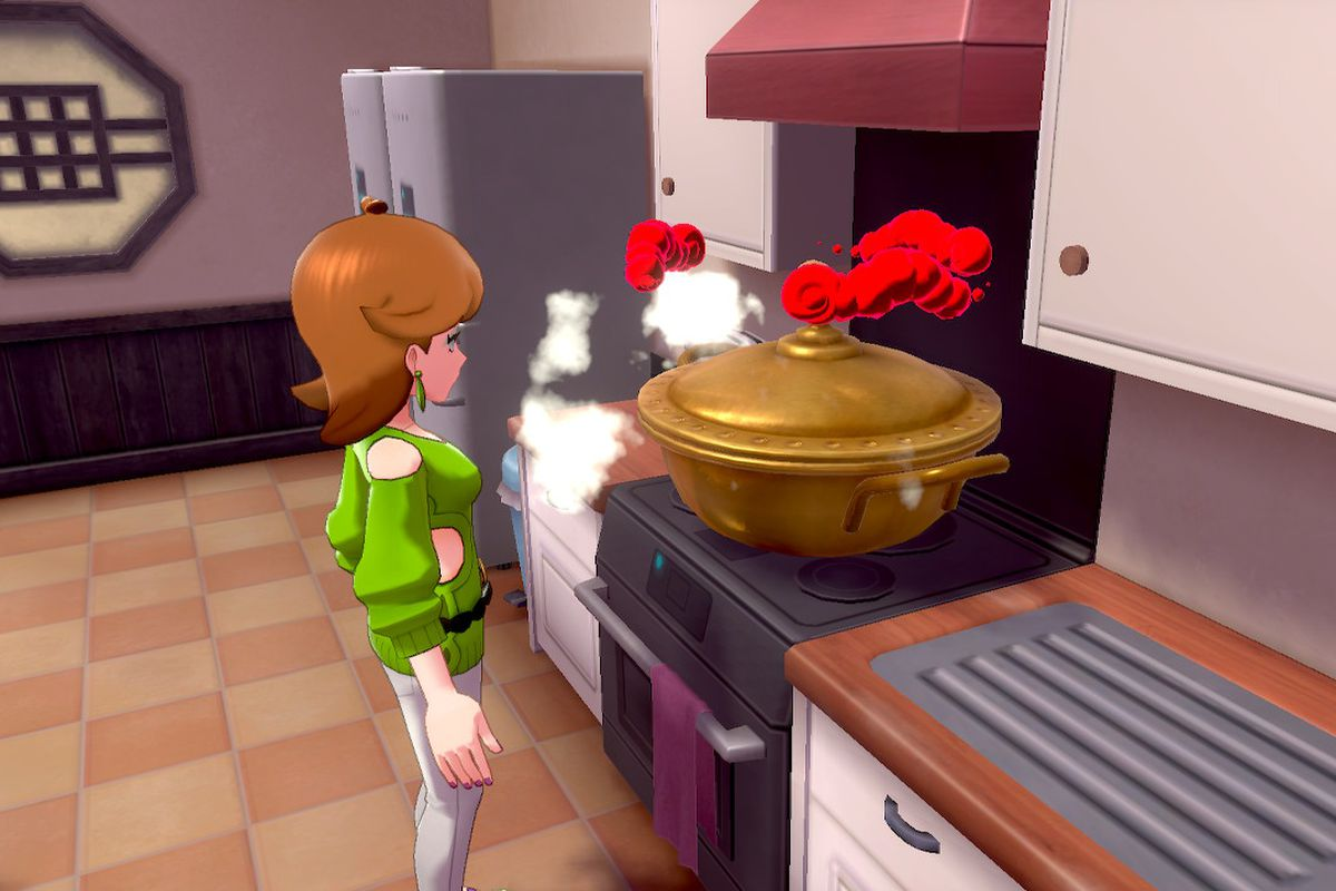 A woman stands in front of a pot on a stove that has ominous red clouds floating above it.