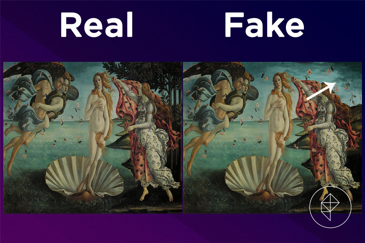 A comparison showing the fake version of the Moving Painting missing trees