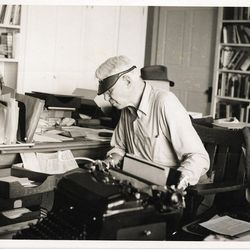 Carl Sandburg with his typewriter at Connemara, his home in Flat Rock, N.C. A documentary on his life will air Monday.
