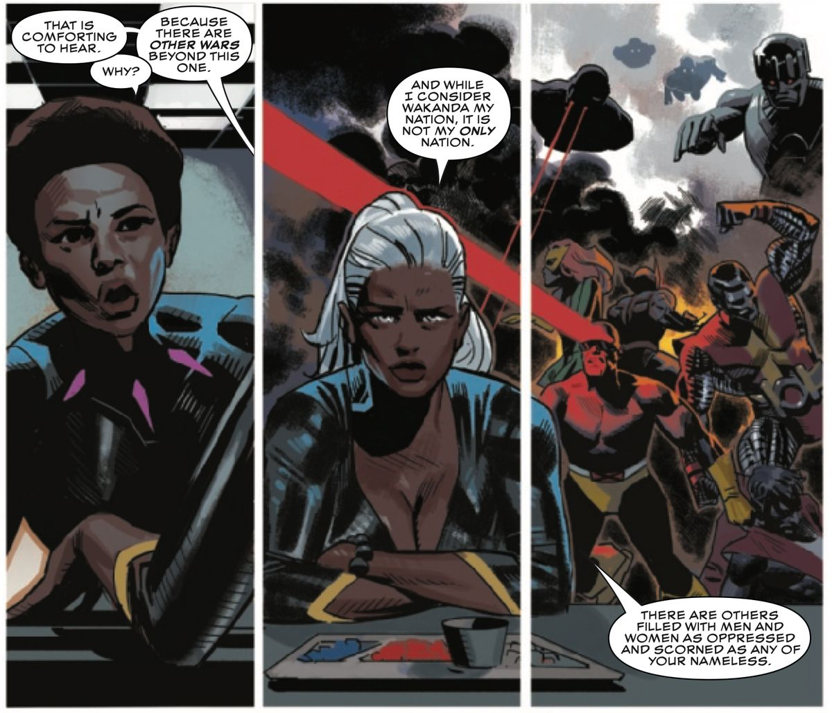 Storm explains to Nakia that Wakanda is her nation, but Krakoa is as well, in Black Panther #17, Marvel Comics (2019).