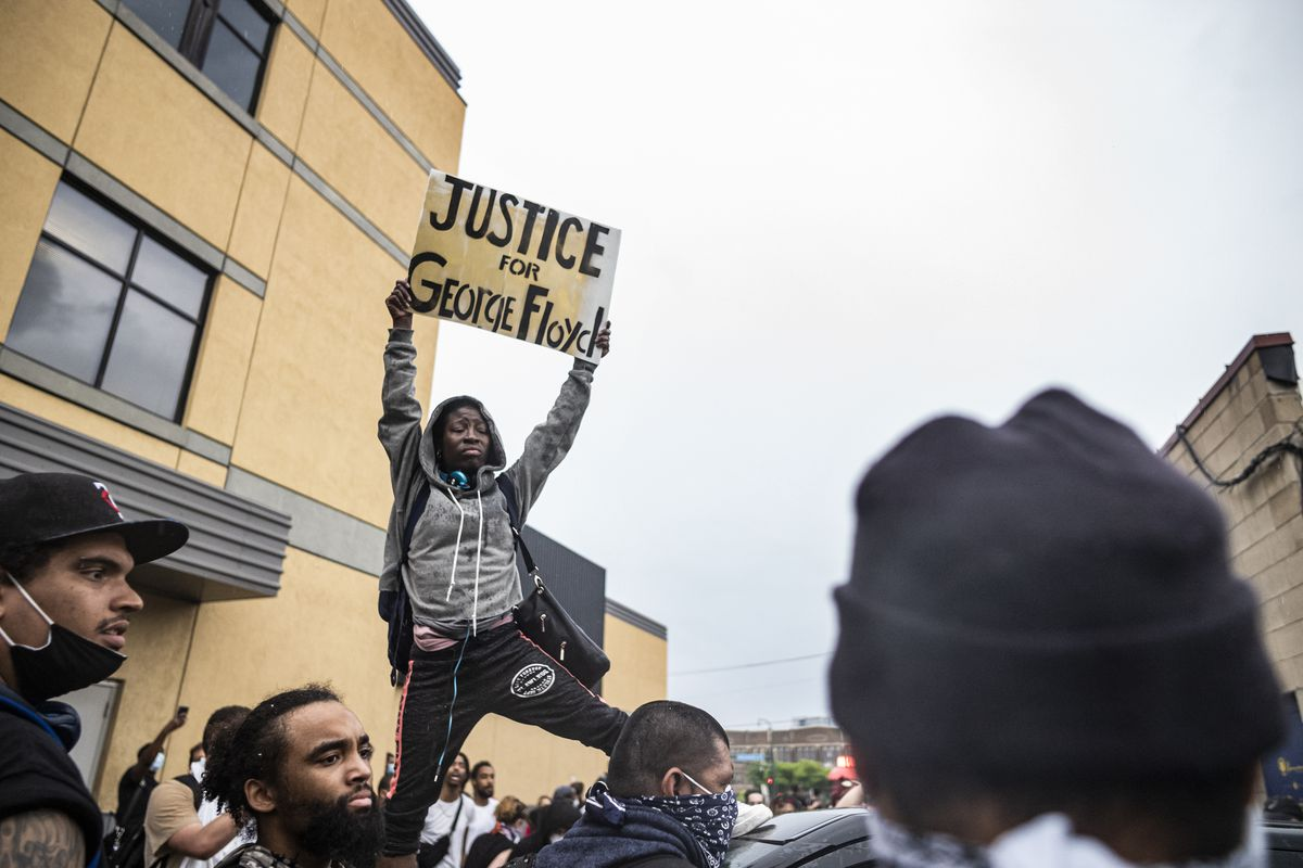 Protesters gather in response to the death the day before of George Floyd in police custody.
