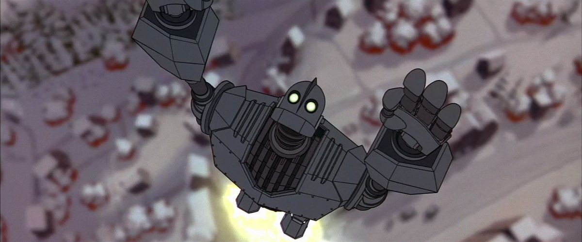 A robot with glowing yellow eyes extends its arms towards the sky in a Superman pose, flying up straight from the ground.