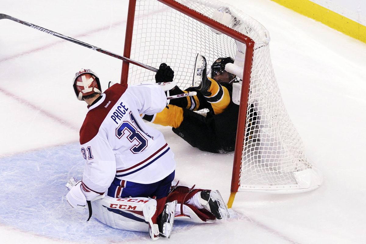 Not a goal... (Brad Marchand, as Carey Price looks on)