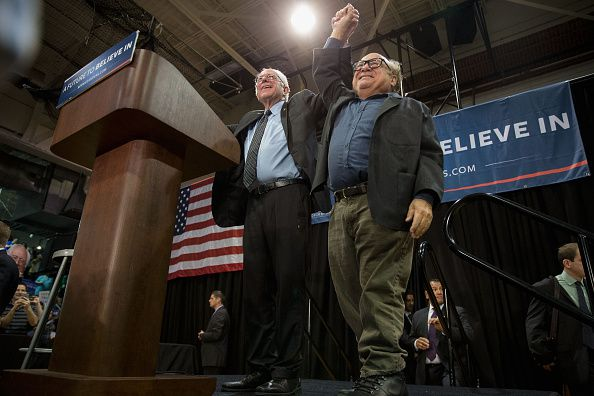 Bernie Sanders with actor Danny DeVito during a rally in Missouri on Sunday.