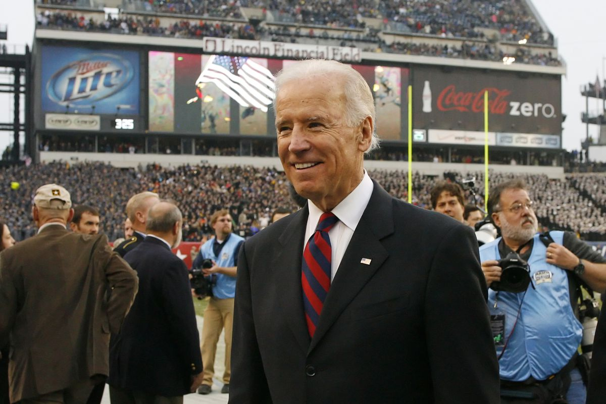 Vice President of the United States Joe Biden walks off of the field after the coin toss before a game between the Army Black Knights and the Navy Midshipmen on December 8, 2012 at Lincoln Financial Field in Philadelphia, Pennsylvania.